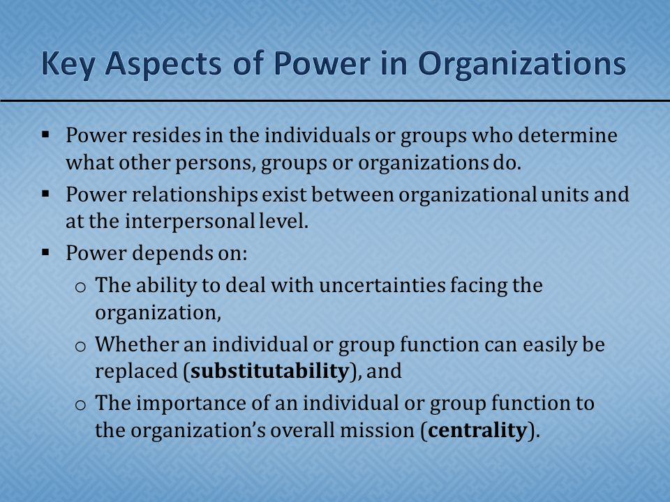 Key Aspects of Power in Organizations