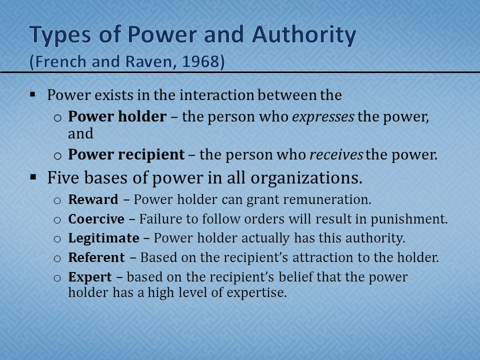 Types of Power and Authority (French and Raven, 1968)