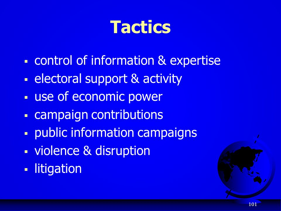 Tactics control of information & expertise