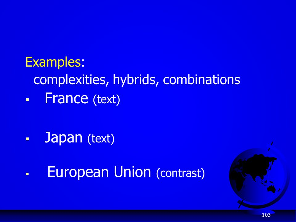 complexities, hybrids, combinations France (text) Japan (text)
