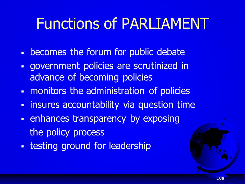 Functions of PARLIAMENT