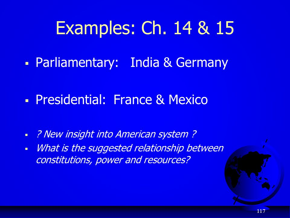 Examples: Ch. 14 & 15 Parliamentary: India & Germany