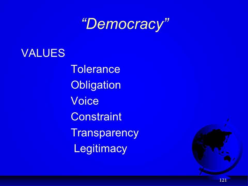 Democracy VALUES Tolerance Obligation Voice Constraint Transparency Legitimacy