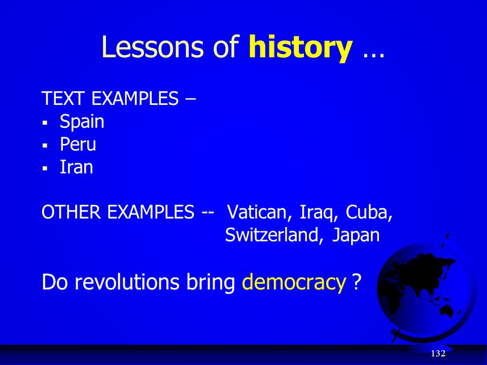Lessons of history … Do revolutions bring democracy TEXT EXAMPLES –