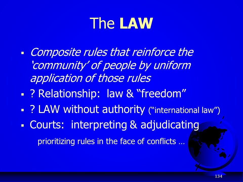 The LAW Composite rules that reinforce the 'community' of people by uniform application of those rules.