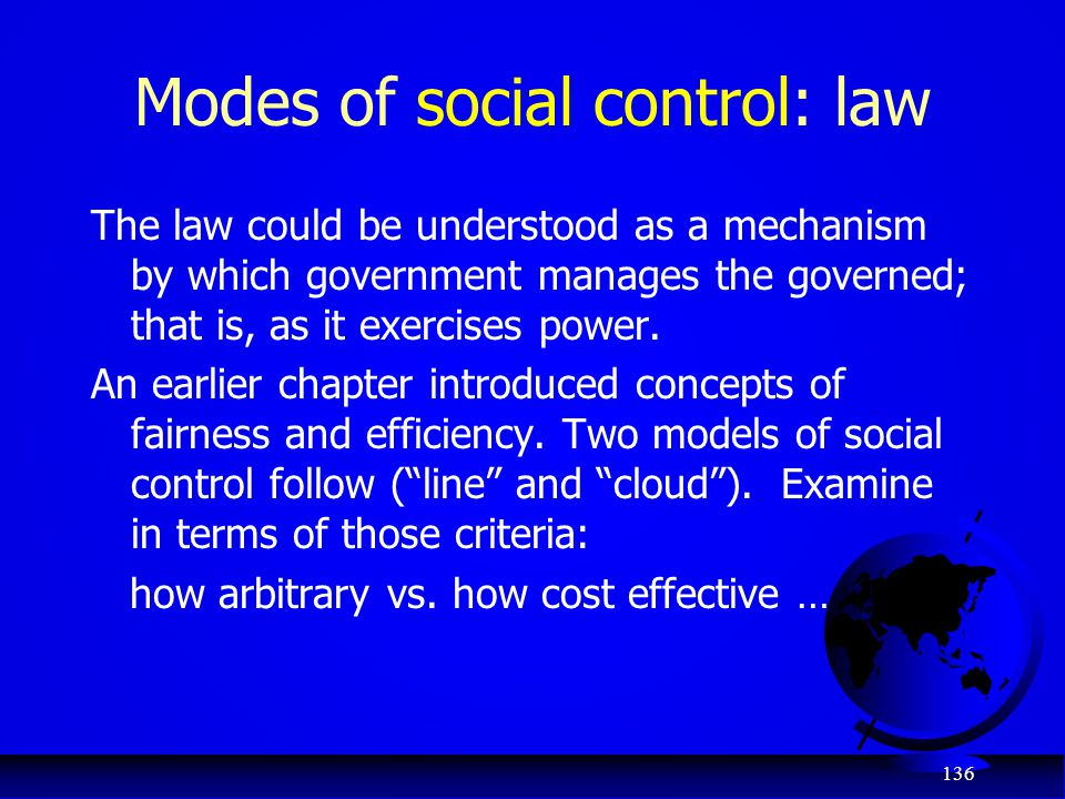Modes of social control: law