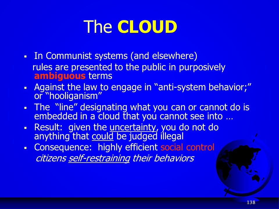 The CLOUD In Communist systems (and elsewhere)