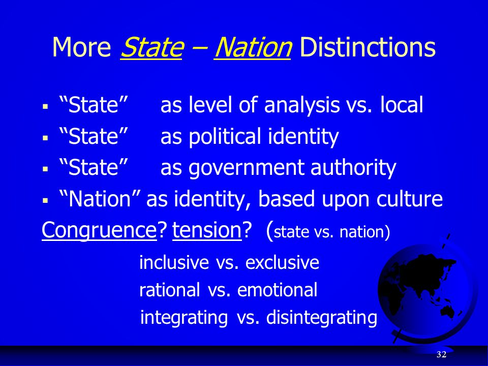 More State – Nation Distinctions