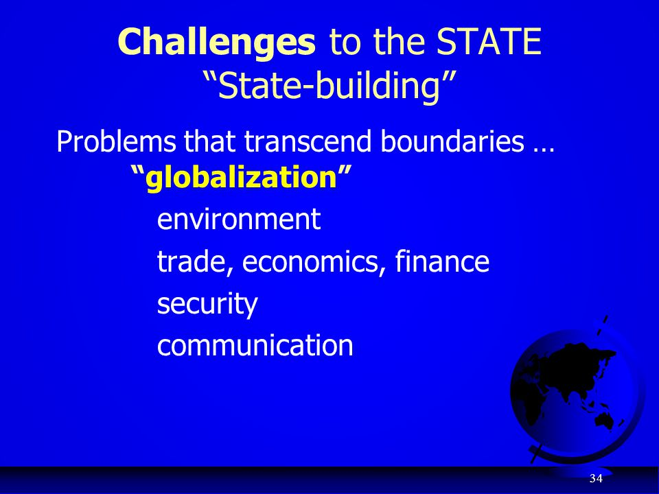 Challenges to the STATE State-building