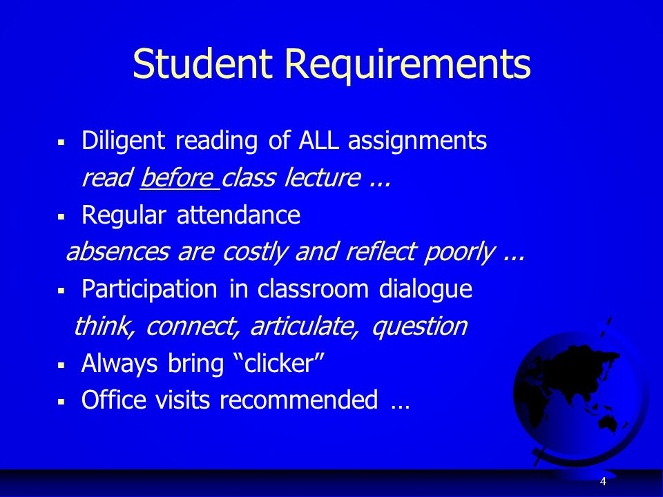Student Requirements Diligent reading of ALL assignments