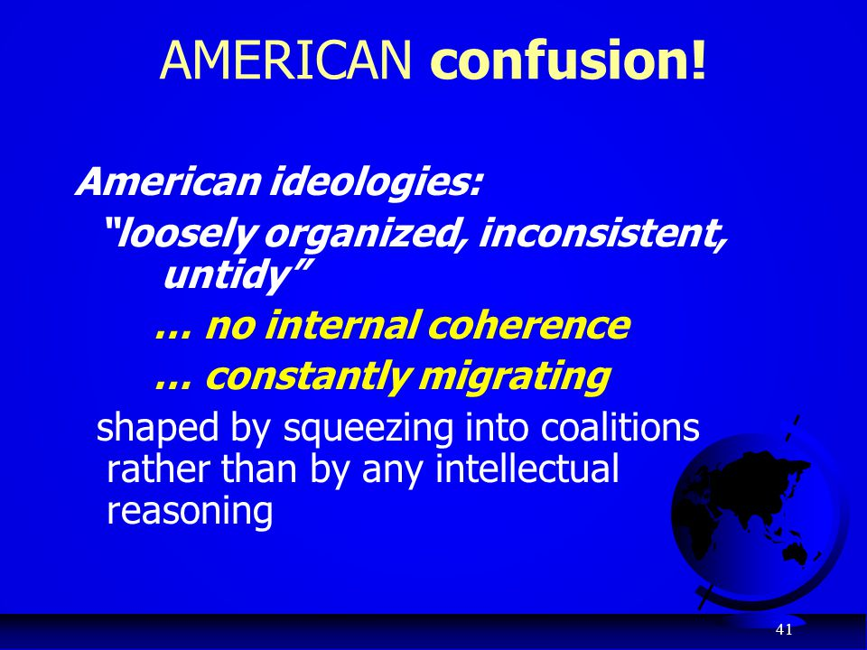 AMERICAN confusion! American ideologies: