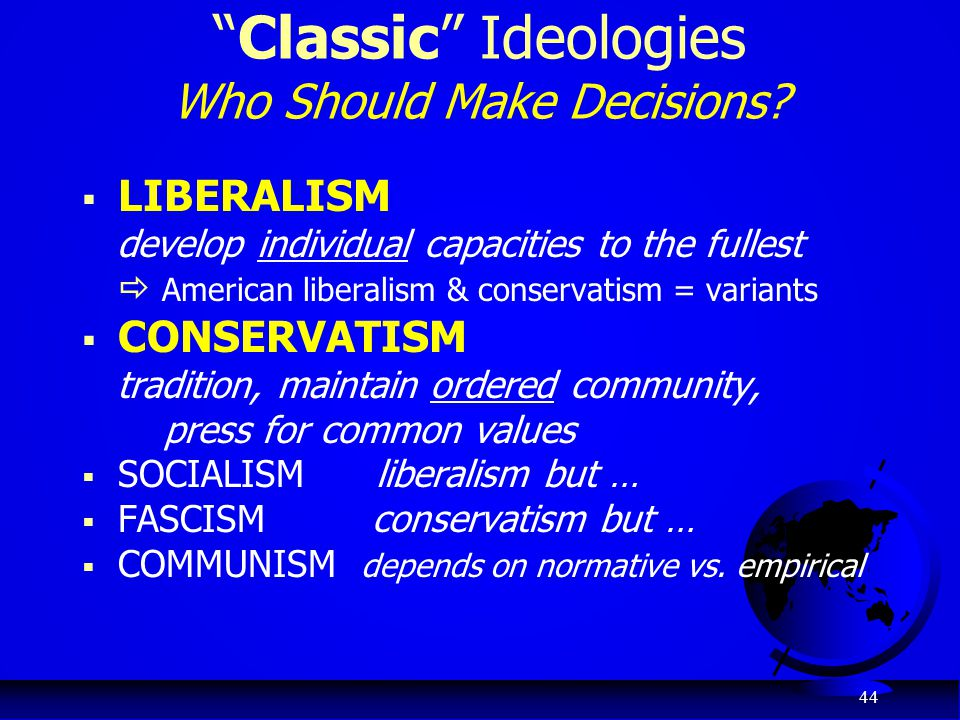 Classic Ideologies Who Should Make Decisions