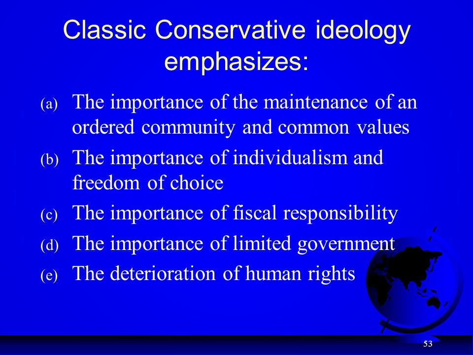 Classic Conservative ideology emphasizes: