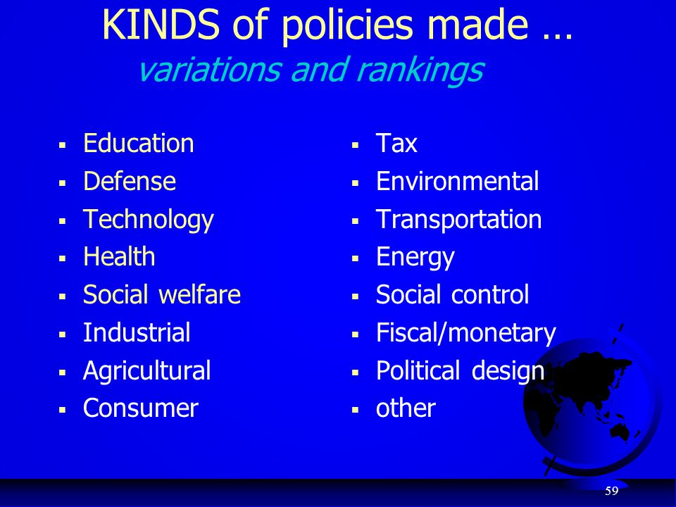 KINDS of policies made … variations and rankings