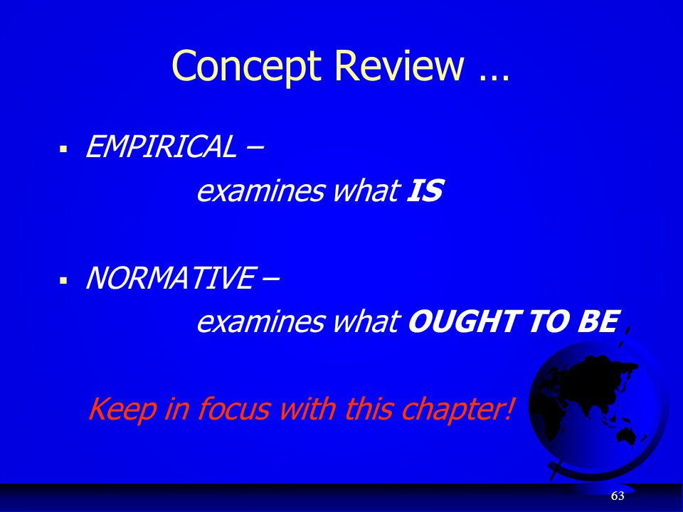 Concept Review … EMPIRICAL – examines what IS NORMATIVE –