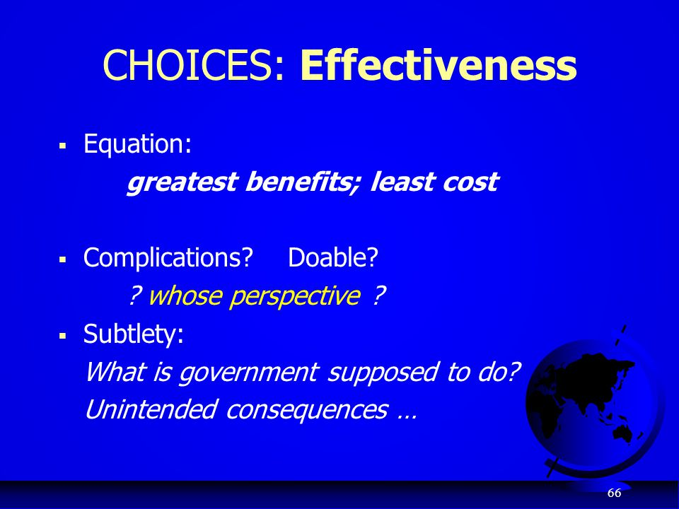 CHOICES: Effectiveness