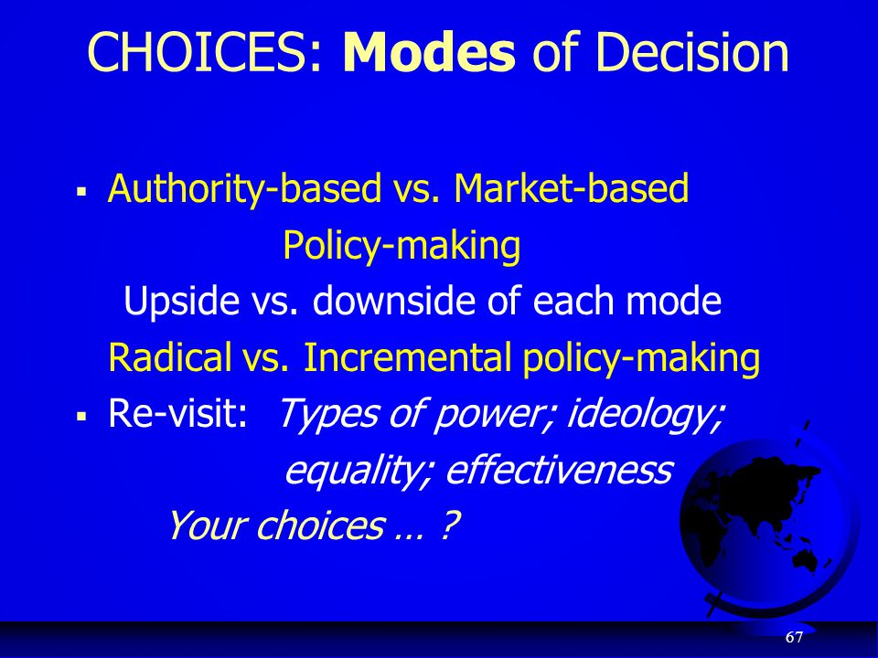 CHOICES: Modes of Decision
