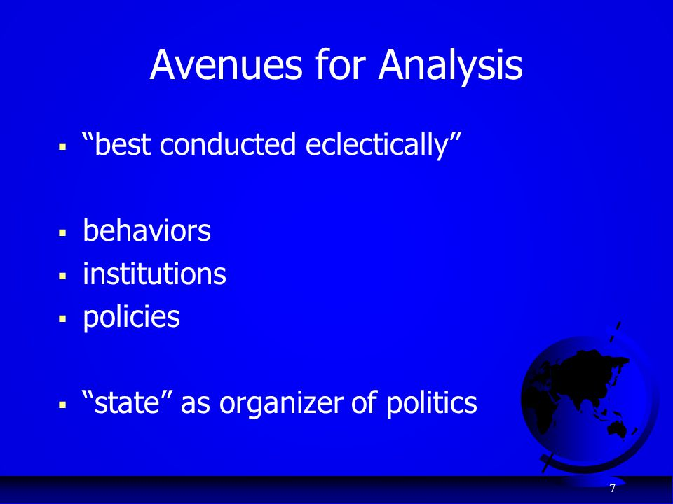 Avenues for Analysis best conducted eclectically behaviors