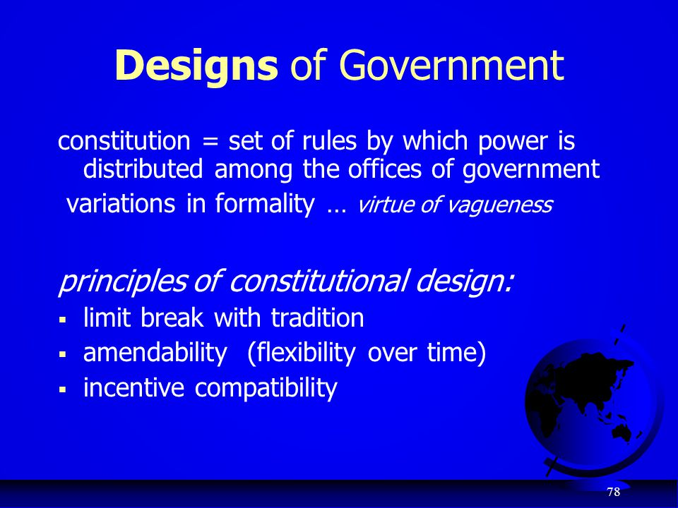 Designs of Government principles of constitutional design: