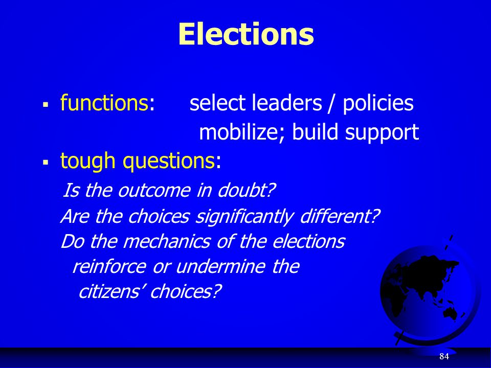 Elections functions: select leaders / policies mobilize; build support