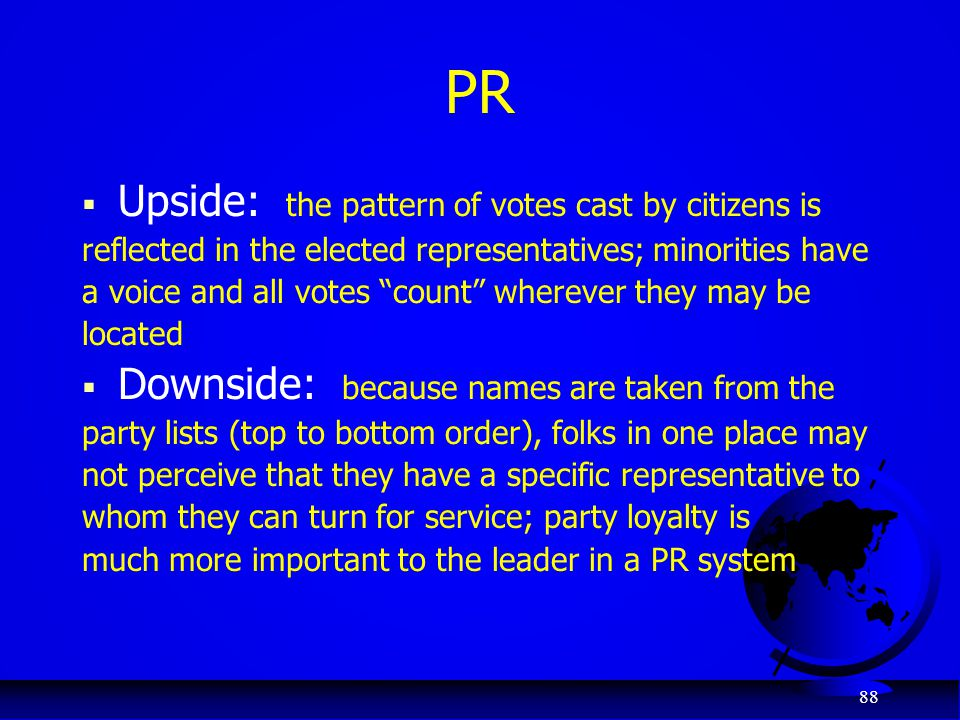 PR Upside: the pattern of votes cast by citizens is