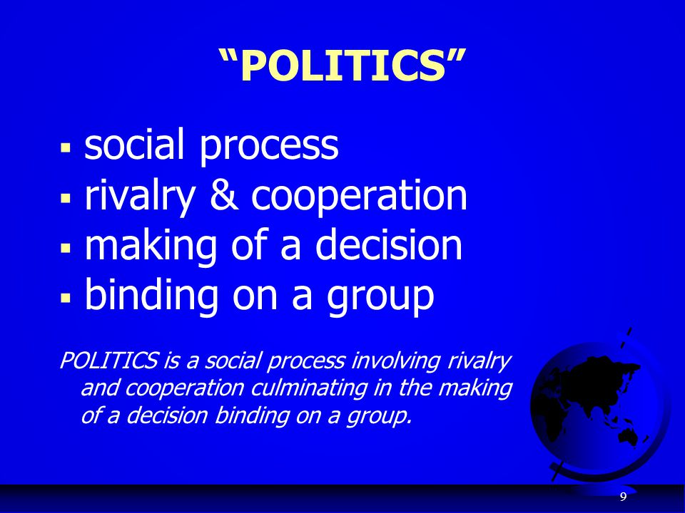 POLITICS social process rivalry & cooperation making of a decision