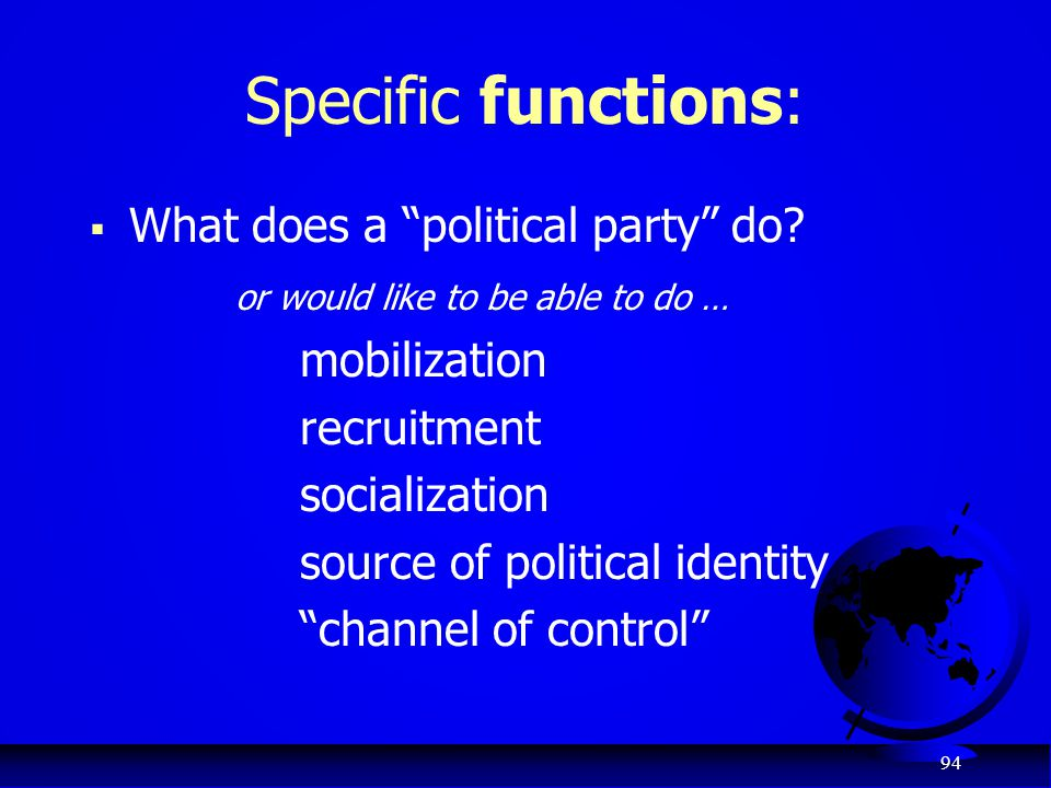 Specific functions: What does a political party do