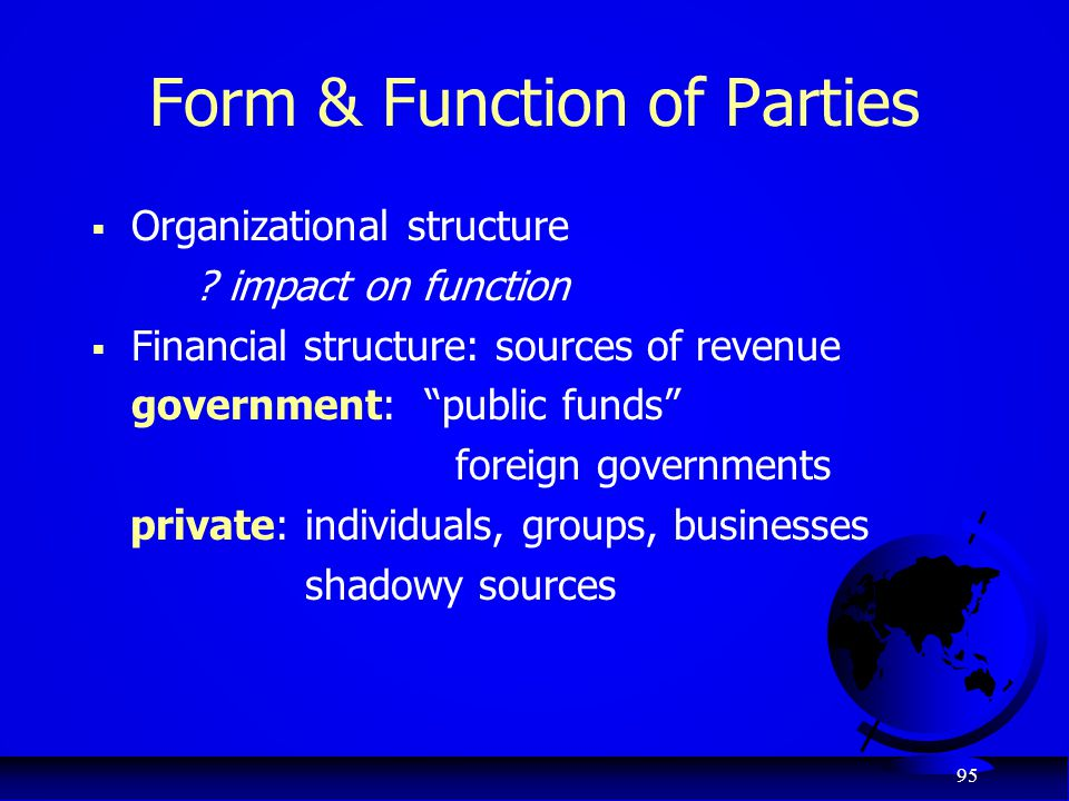 Form & Function of Parties