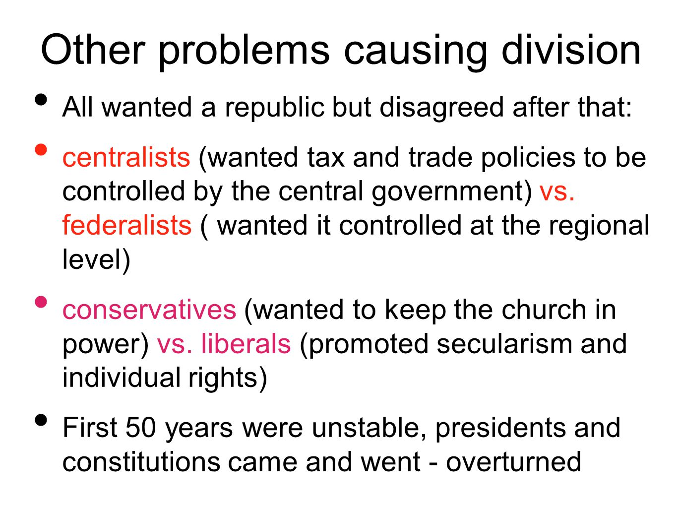 Other problems causing division