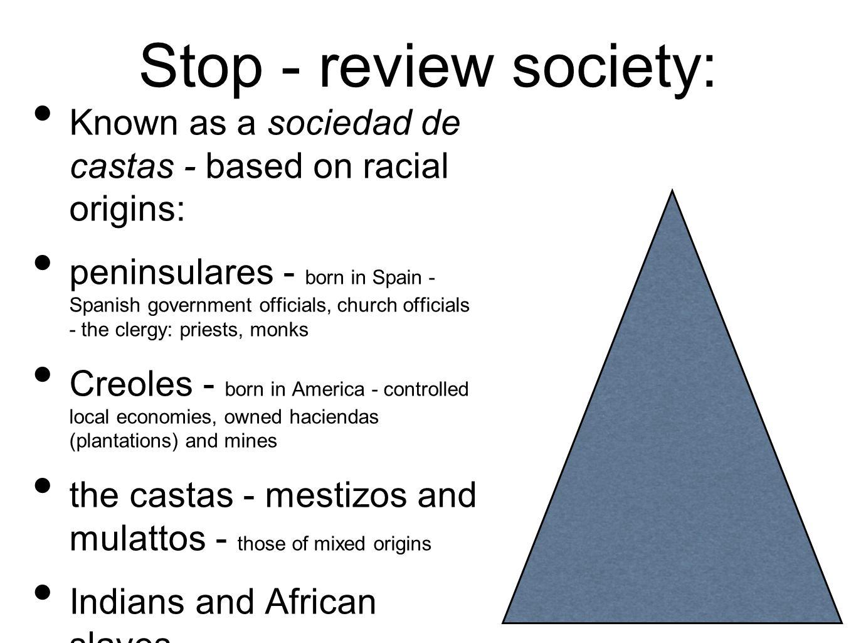 Stop - review society: Known as a sociedad de castas - based on racial origins: