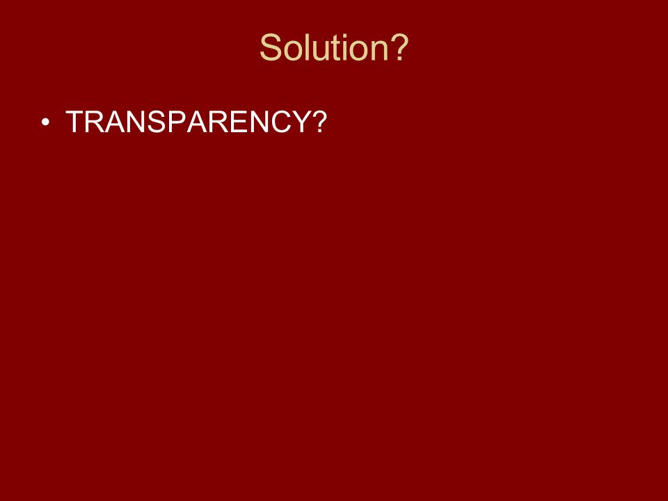 Solution TRANSPARENCY