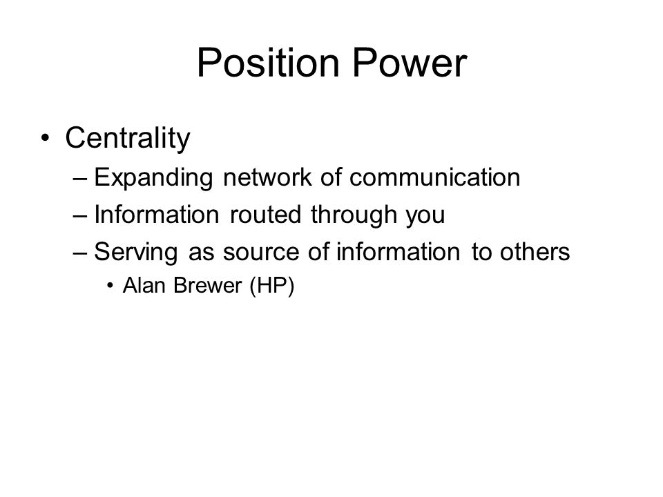Position Power Centrality Expanding network of communication