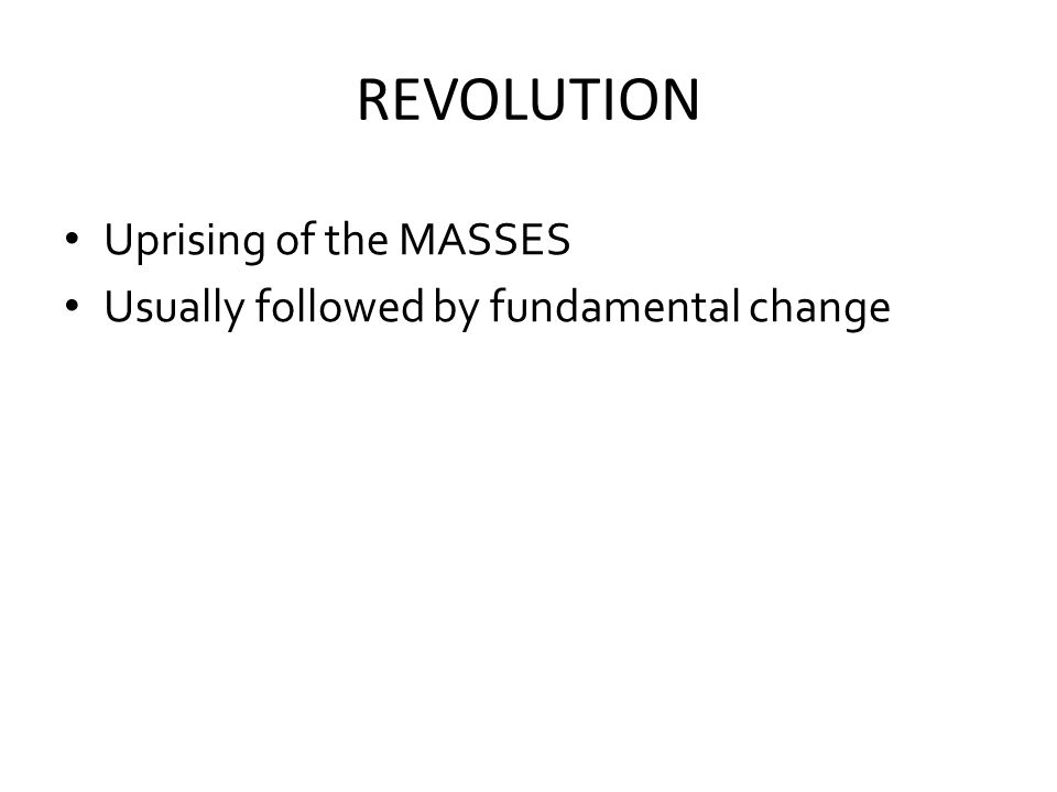 REVOLUTION Uprising of the MASSES