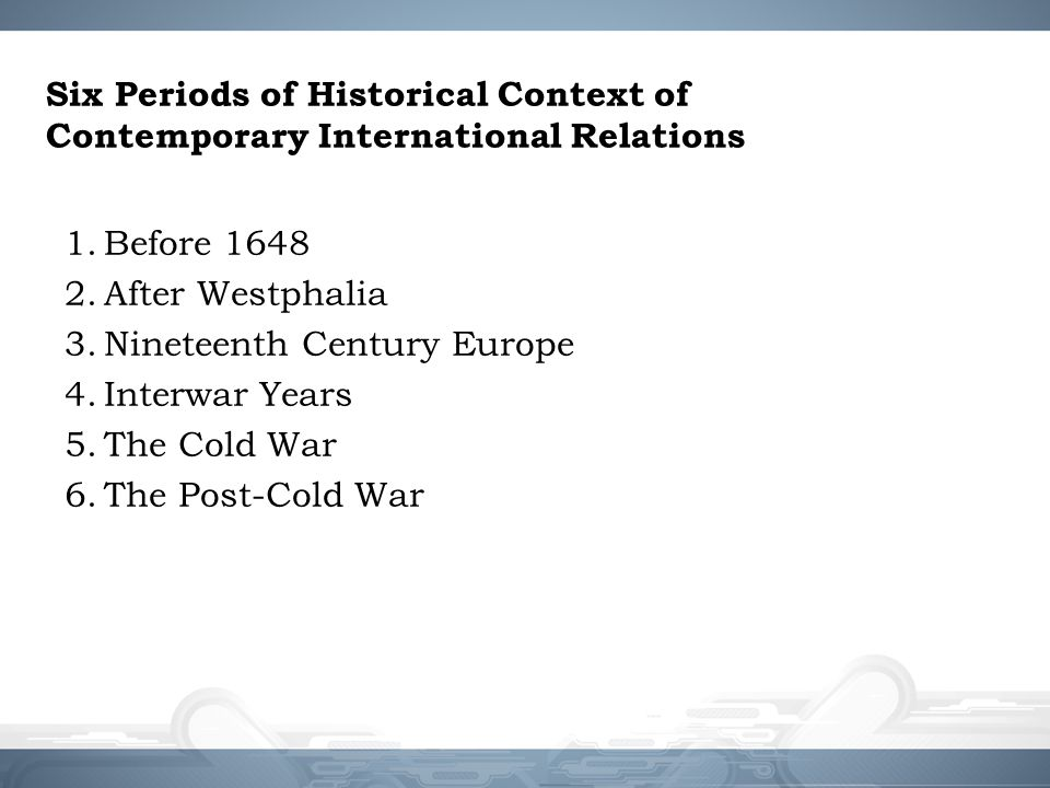 Six Periods of Historical Context of Contemporary International Relations