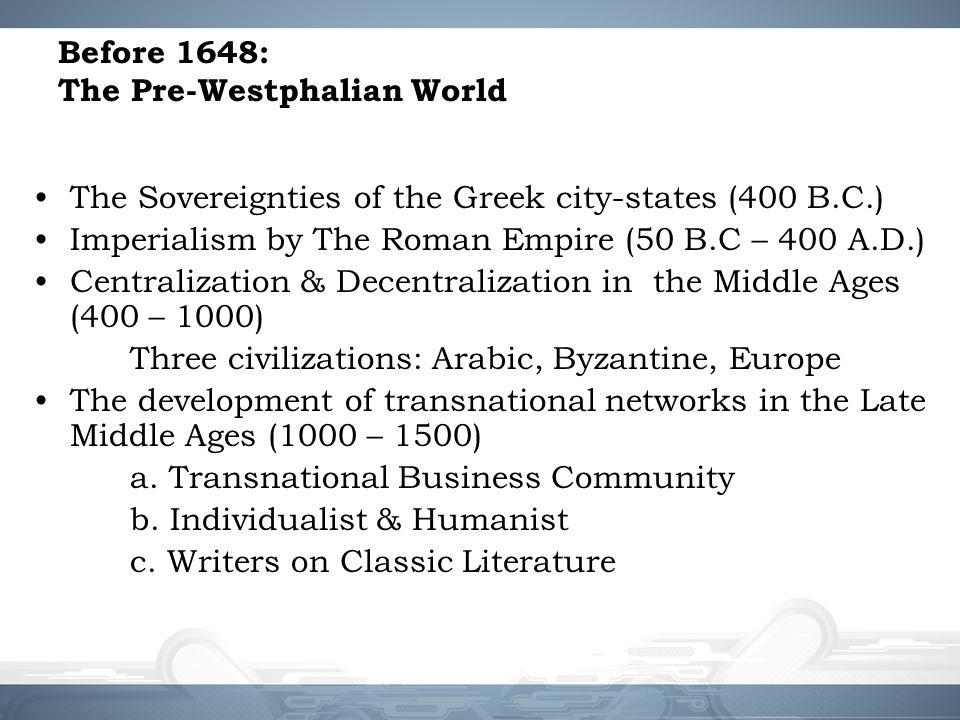 Before 1648: The Pre-Westphalian World
