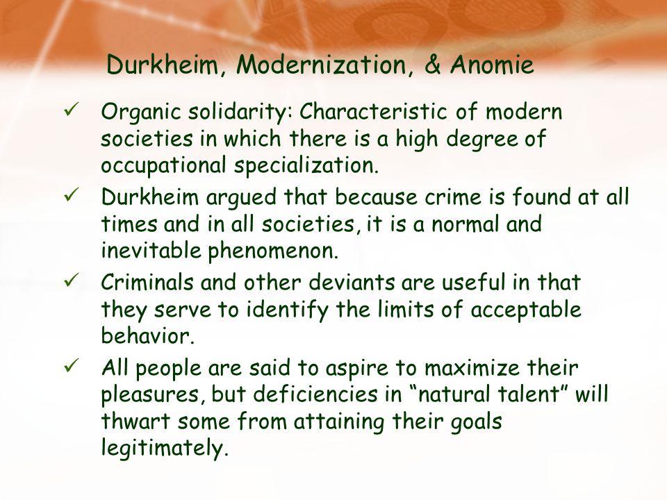 Durkheim, Modernization, & Anomie