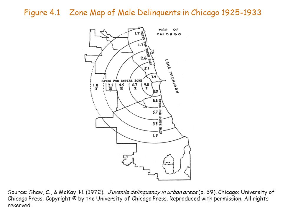 Figure 4.1 Zone Map of Male Delinquents in Chicago 1925-1933