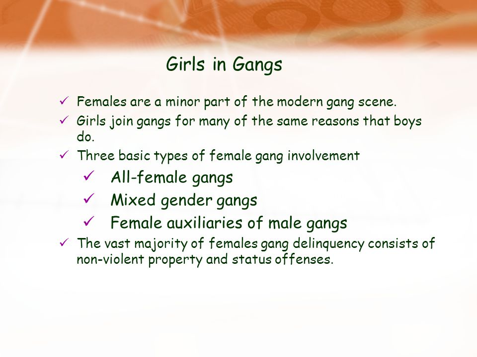 males who join gangs Why do youth join gangs  in the rochester study, thornberry (1998) found predictors of gang membership among males in all five of the domains listed above the .