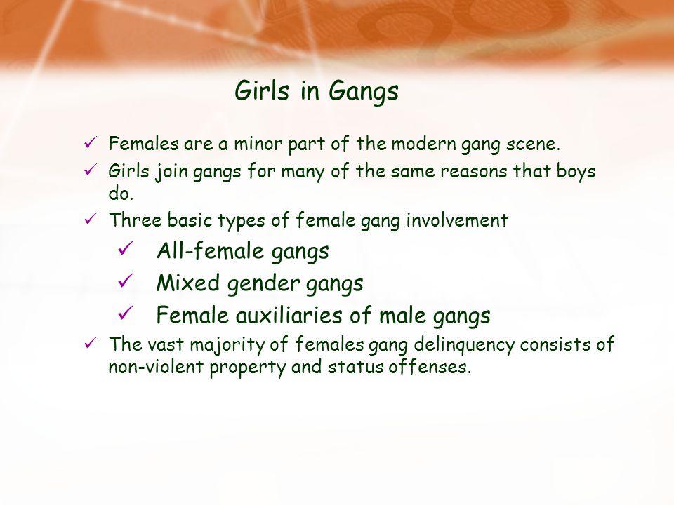 Girls in Gangs All-female gangs Mixed gender gangs