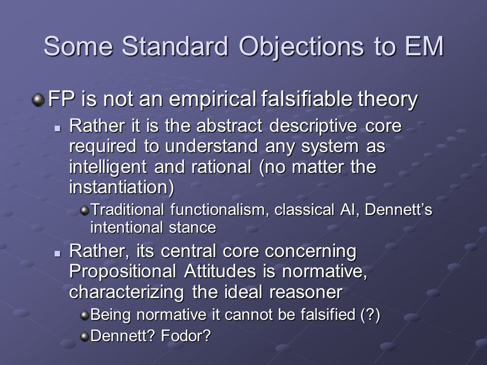 Some Standard Objections to EM