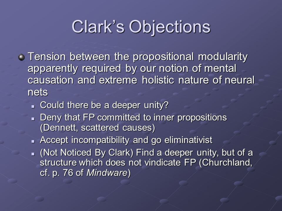 Clark's Objections