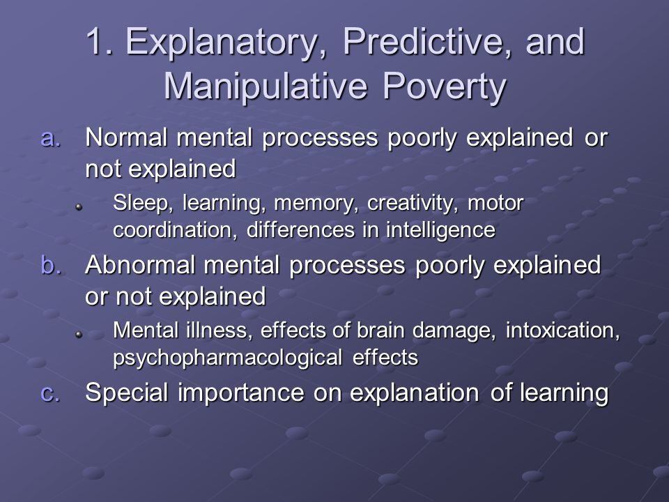 1. Explanatory, Predictive, and Manipulative Poverty