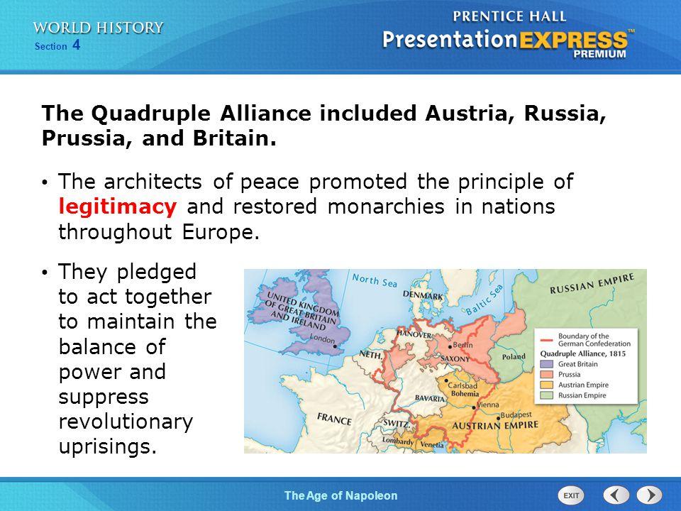 The Quadruple Alliance included Austria, Russia, Prussia, and Britain.