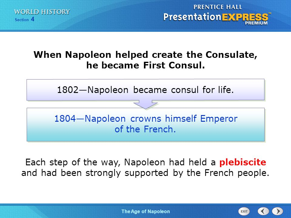 When Napoleon helped create the Consulate, he became First Consul.