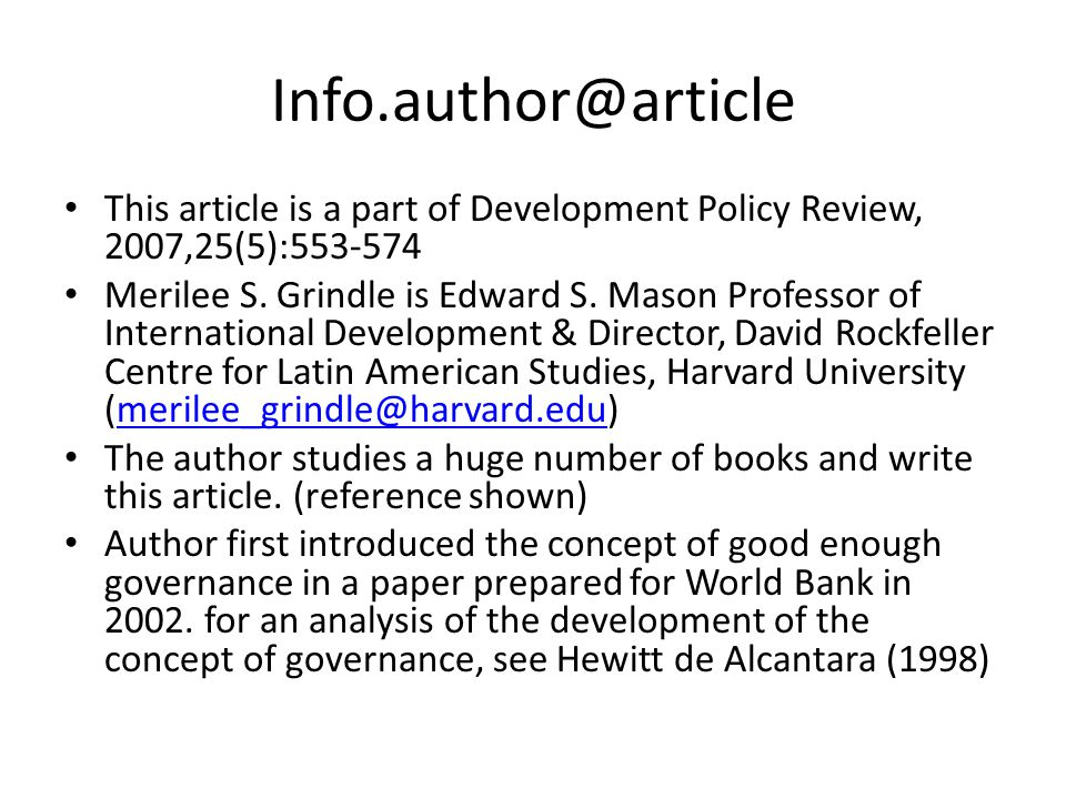 Info.author@article This article is a part of Development Policy Review, 2007,25(5):553-574.