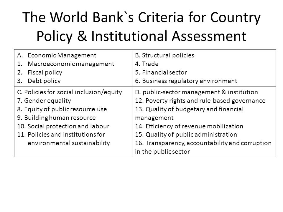 The World Bank`s Criteria for Country Policy & Institutional Assessment