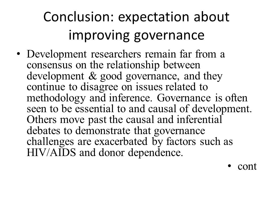 Conclusion: expectation about improving governance