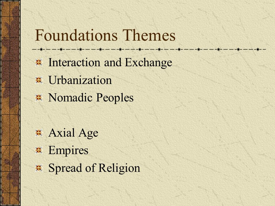 Foundations Themes Interaction and Exchange Urbanization