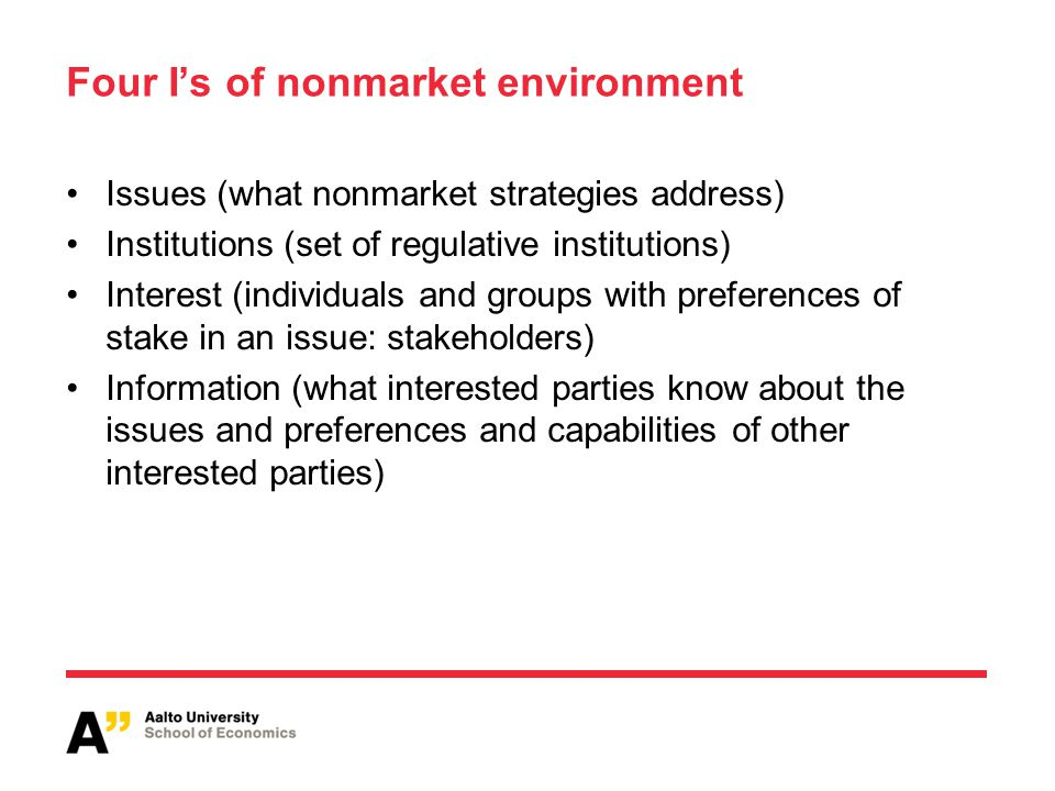 Four I's of nonmarket environment