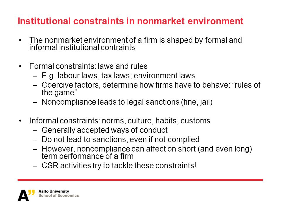 Institutional constraints in nonmarket environment